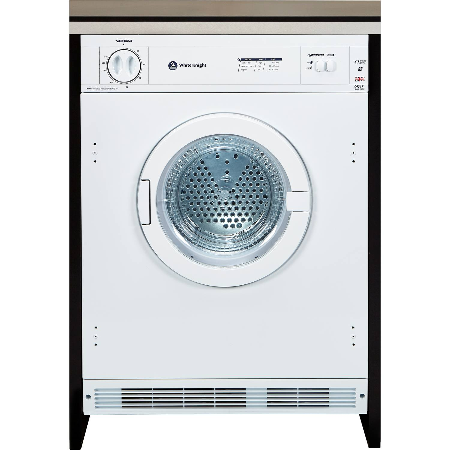 Non Vented Dryer ~ White knight c wv intergrated kg vented tumble dryer