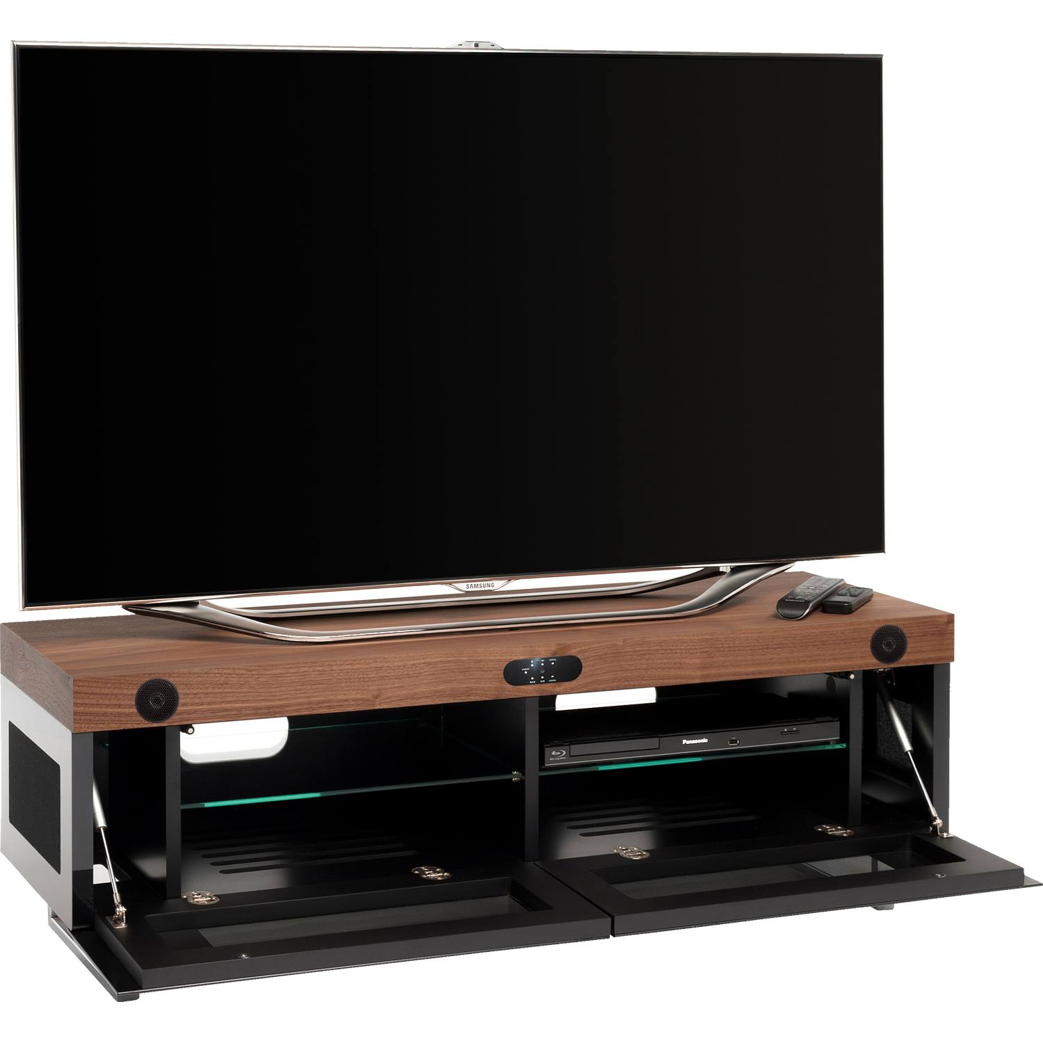 techlink panorama sound pm120sw tv stand up to 60 built in stereo system new ebay. Black Bedroom Furniture Sets. Home Design Ideas