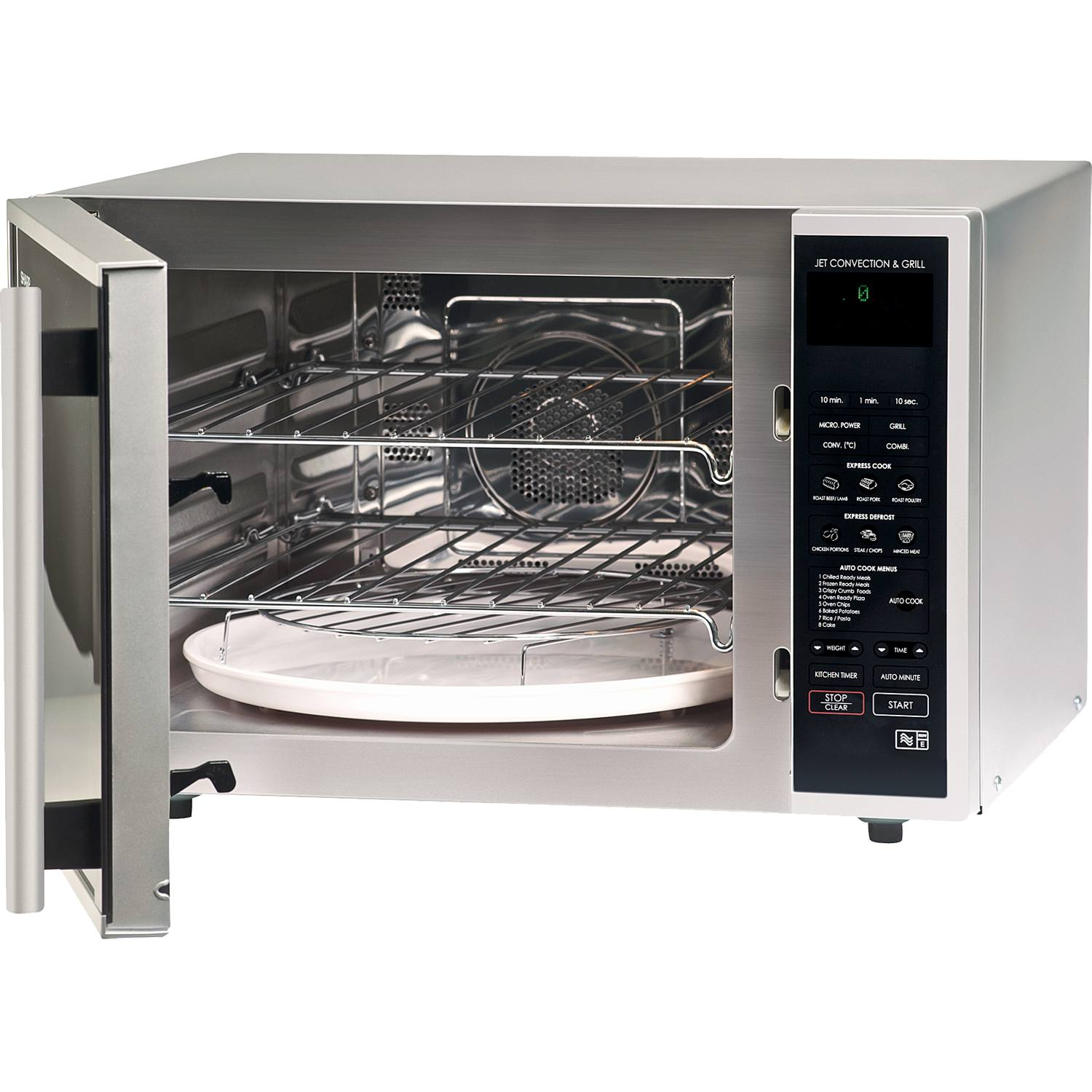 Black Combination Microwave Oven And Grill: Sharp R959SLMAA 40L 12 Programmes Combination Microwave
