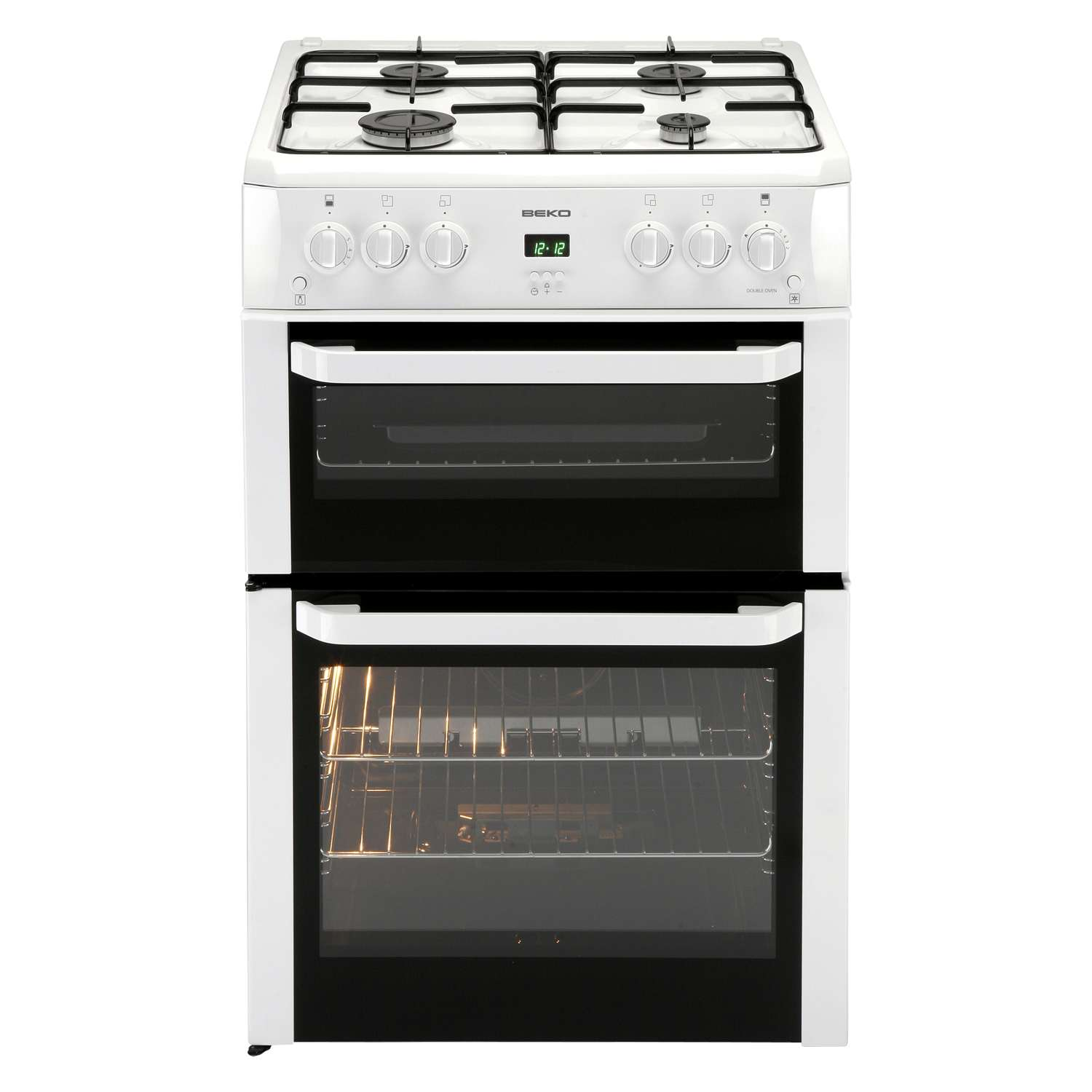 beko bdvg694wp 60cm freestanding double oven gas cooker. Black Bedroom Furniture Sets. Home Design Ideas