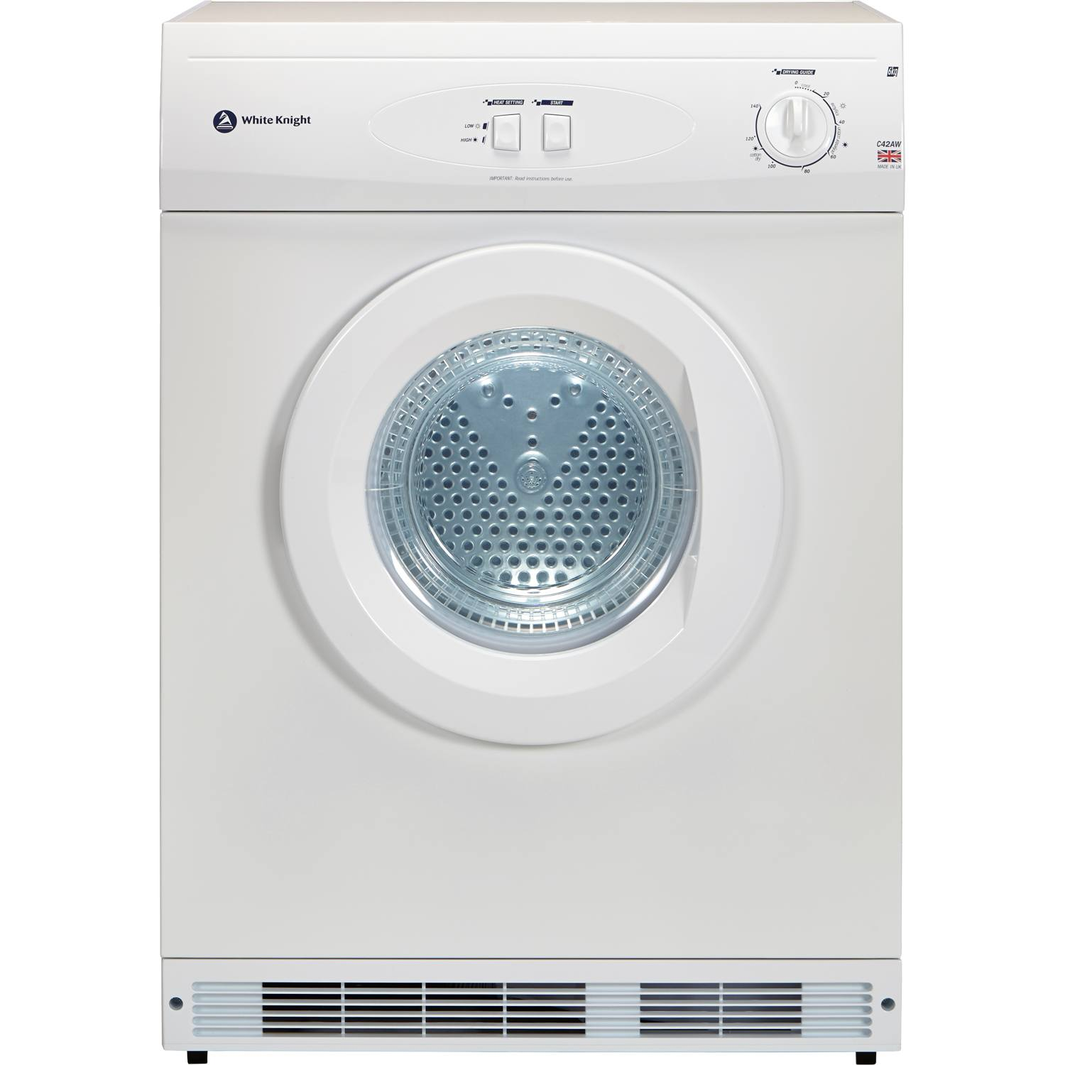 Non Vented Dryer ~ White knight c aw freestanding rated kg temps vented
