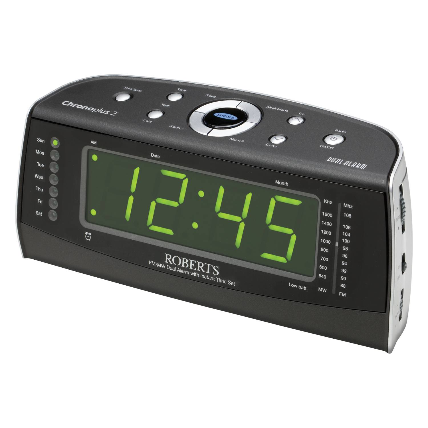 roberts chronoplus 2 black silver mw fm clock radio with dual alarm new. Black Bedroom Furniture Sets. Home Design Ideas