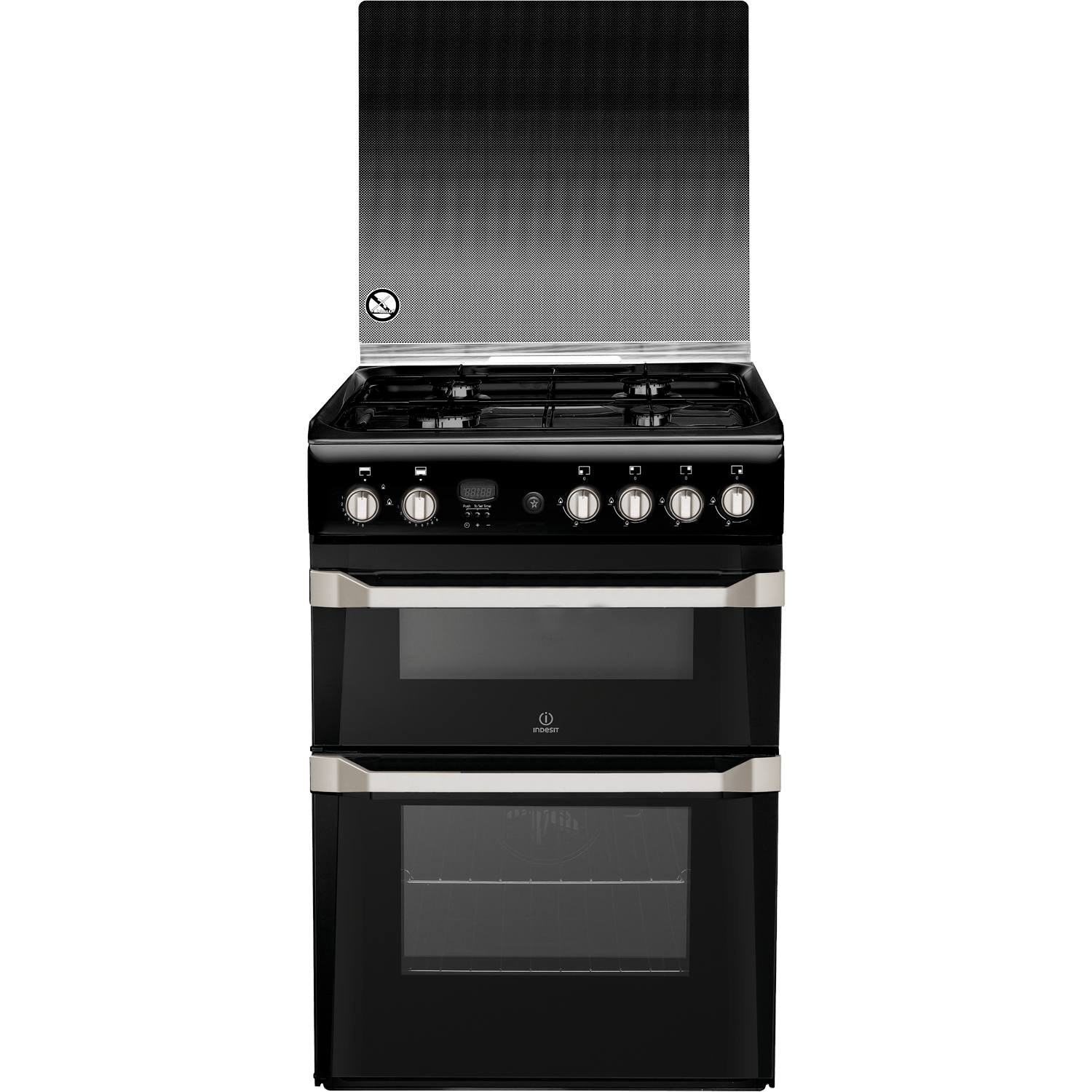 indesit id60g2k 60cm freestanding double oven gas cooker. Black Bedroom Furniture Sets. Home Design Ideas