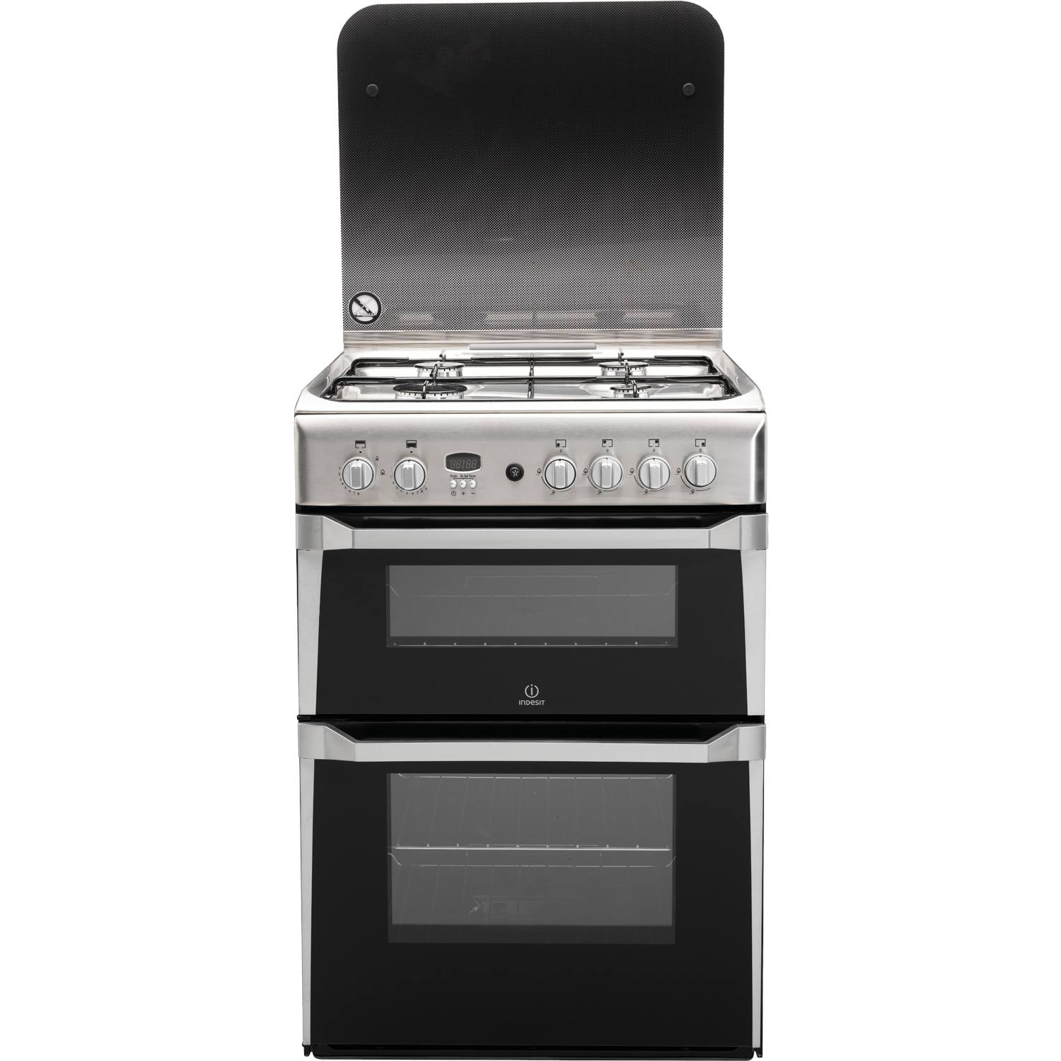 indesit id60g2x 60cm freestanding double oven gas cooker. Black Bedroom Furniture Sets. Home Design Ideas