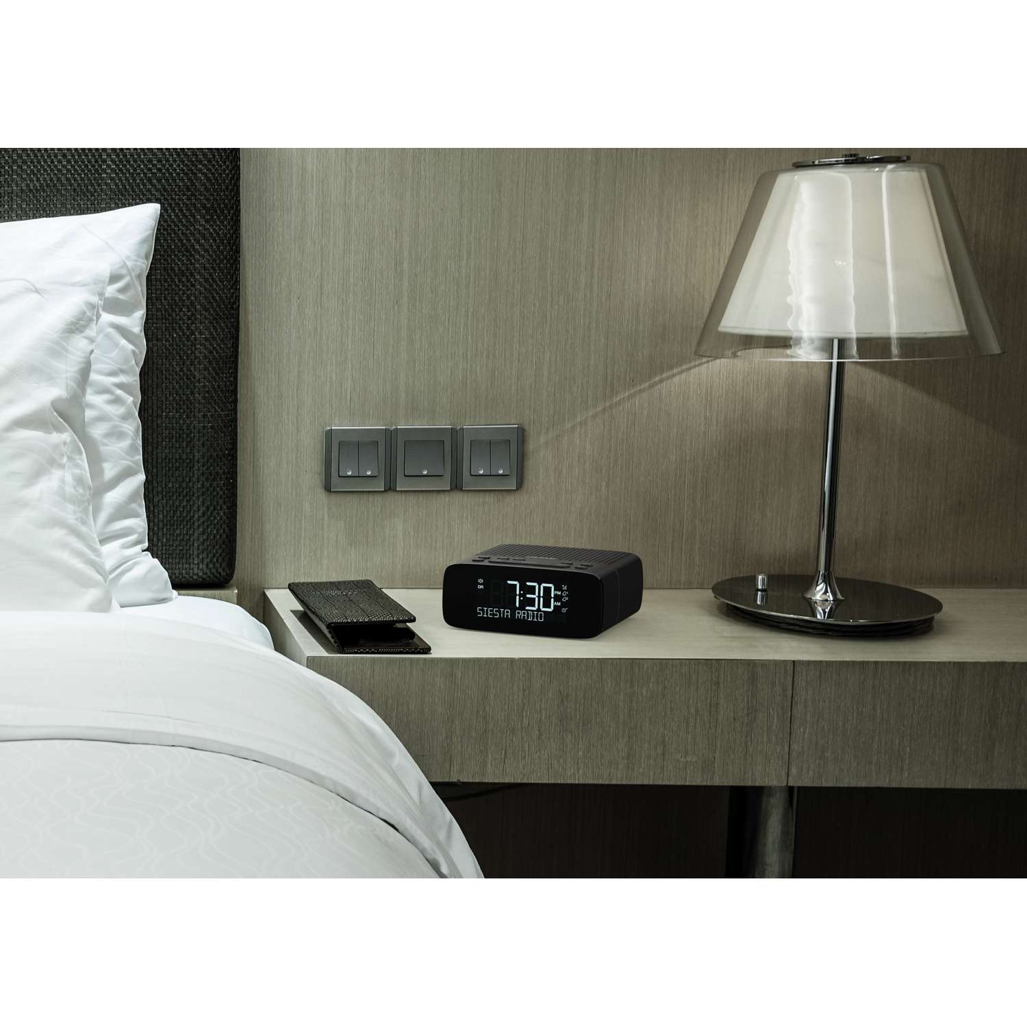 pure siesta series 2 dab digital clock fm alarm clock portable radio in graphite ebay. Black Bedroom Furniture Sets. Home Design Ideas