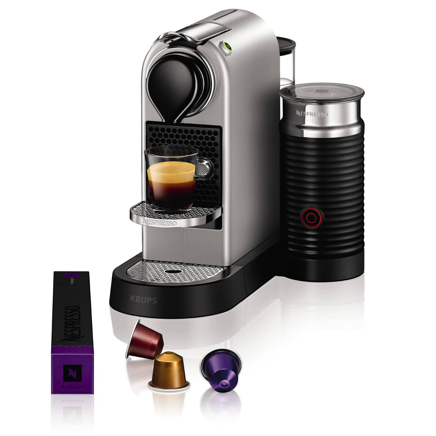 krups xn760b40 nespresso citiz milk coffee machine 1710w in silver ebay. Black Bedroom Furniture Sets. Home Design Ideas