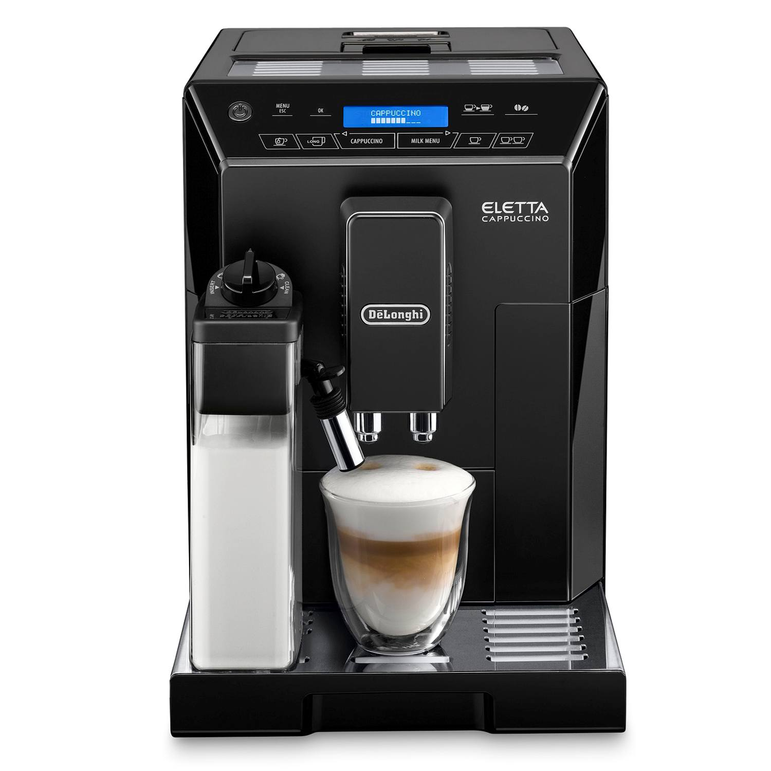 delonghi eletta bean to cup cappuccino coffee machine in black 8004399328341 ebay. Black Bedroom Furniture Sets. Home Design Ideas