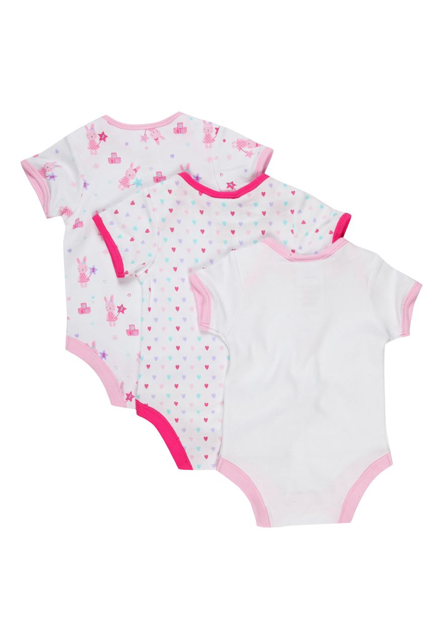 Peacocks Baby Girls 3 Pack Bodysuits Premature Preemie