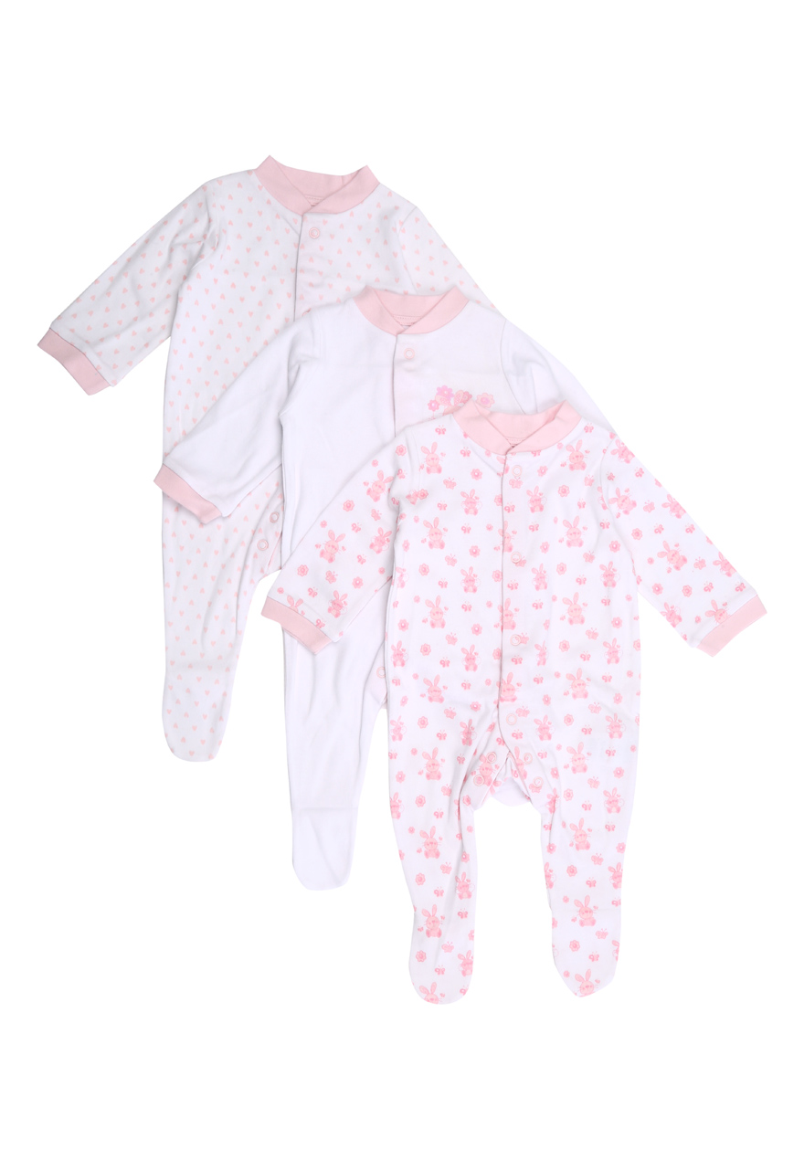 Peacocks Baby Girls Long Sleeve Collared Bodysuit Sleepsuit 3 Pack 100 % Cotton