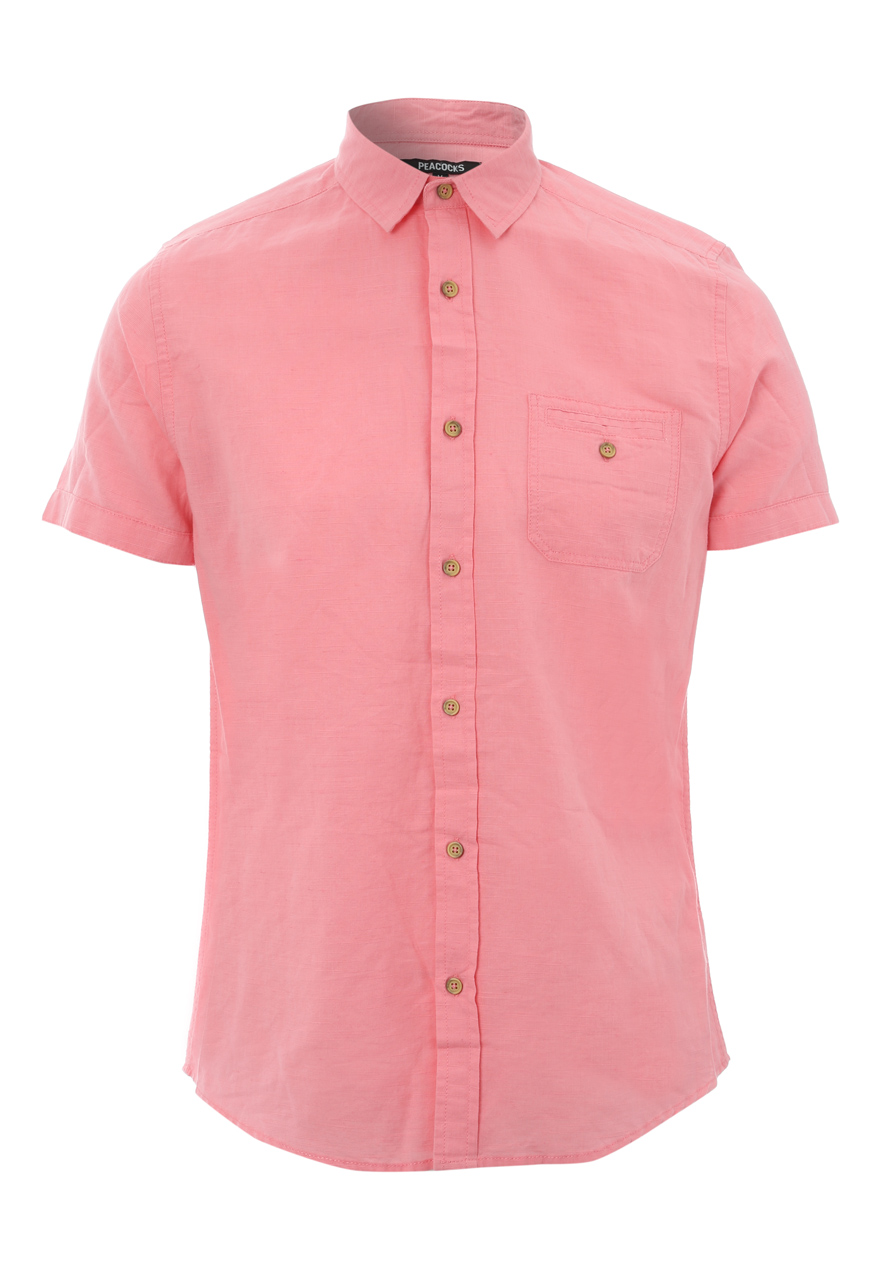 Peacocks mens short sleeve linen blend collared button for Mens short sleeve linen dress shirts