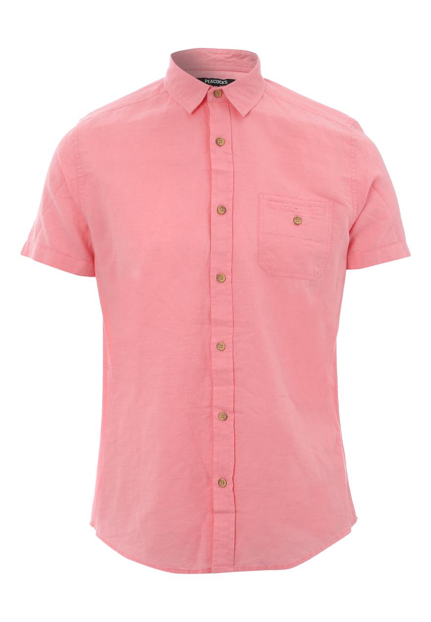 Peacocks mens short sleeve linen blend collared button for Mens short sleeve button down shirts