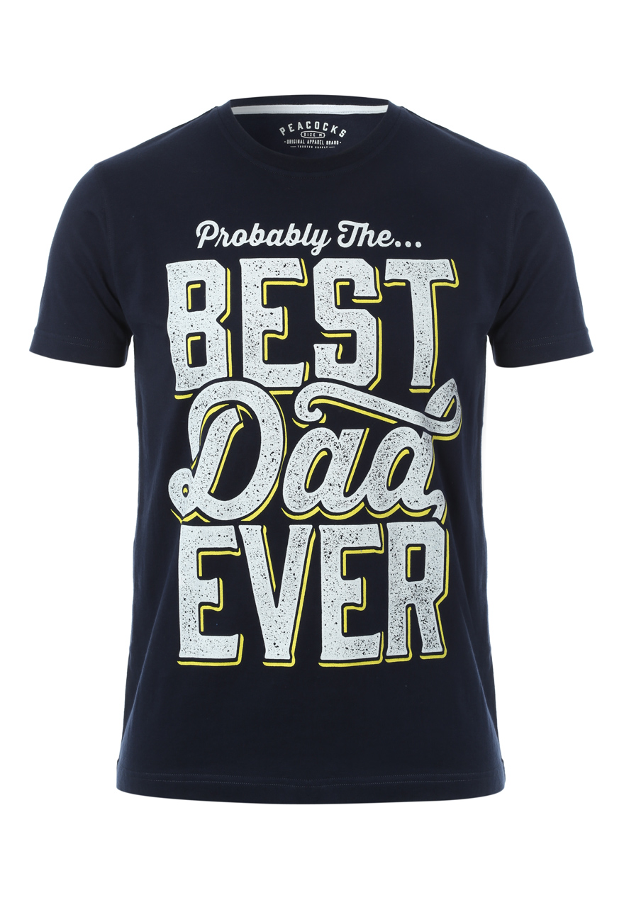 Peacocks Mens Short Sleeve Crew Neck Best Dad Ever 100 % Cotton Tee Top T Shirt