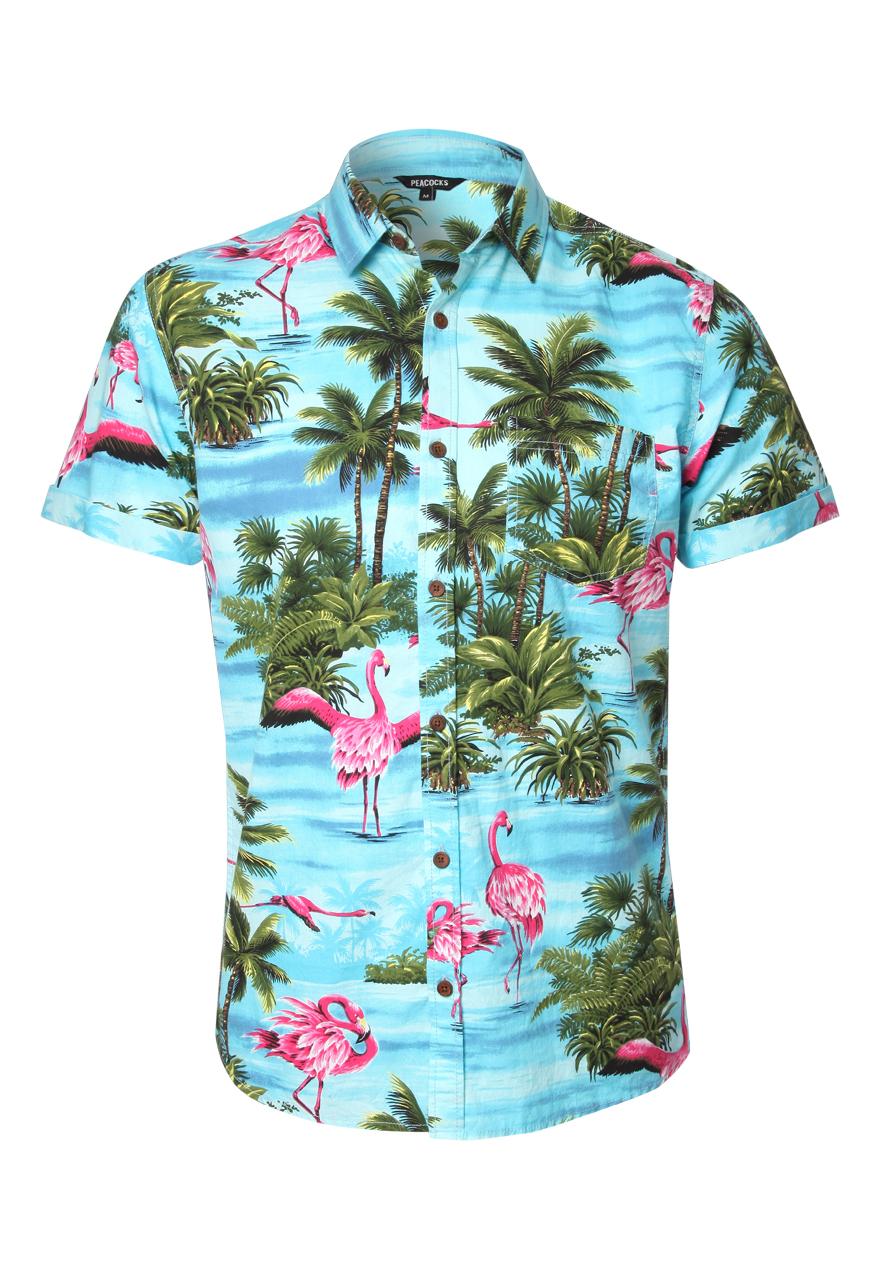 Peacocks Mens Short Sleeve Flamingo Print Shirt Button Up