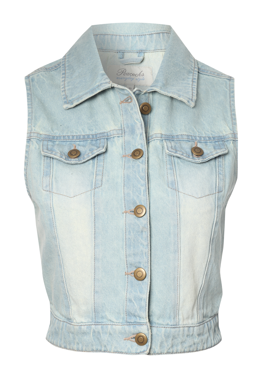 Peacocks Womens Denim Sleeveless Jacket Gilet With Two Chest Pockets Brand New