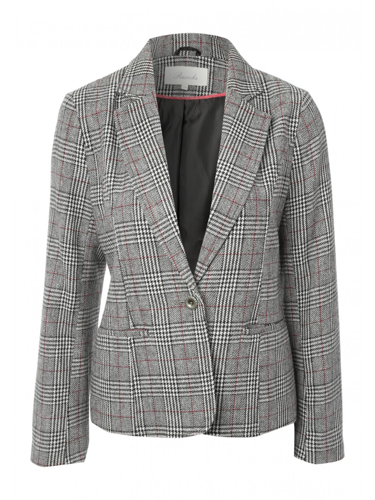 Velvet fabric Check print Three quarter ruched sleeve Notch lapels Front welt pockets Fully lined Open front Our model wears a UK 8 and is cm/5'9'' tall. Women. Coats & jackets. Brown velvet check ruched sleeve blazer Brown velvet check ruched sleeve blazer $