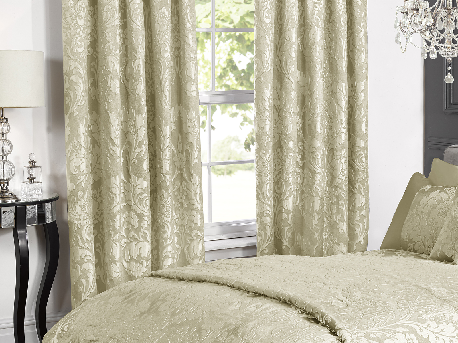 boston jacquard lined curtains in elegant cream damask floral design