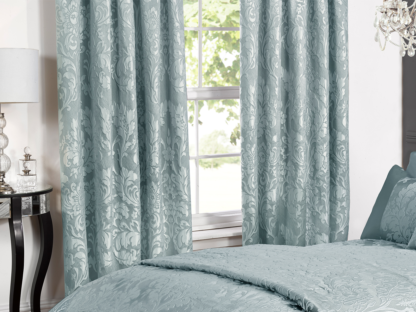 Deluxe Boston Jacquard Damask Lined Curtains In Duck Egg