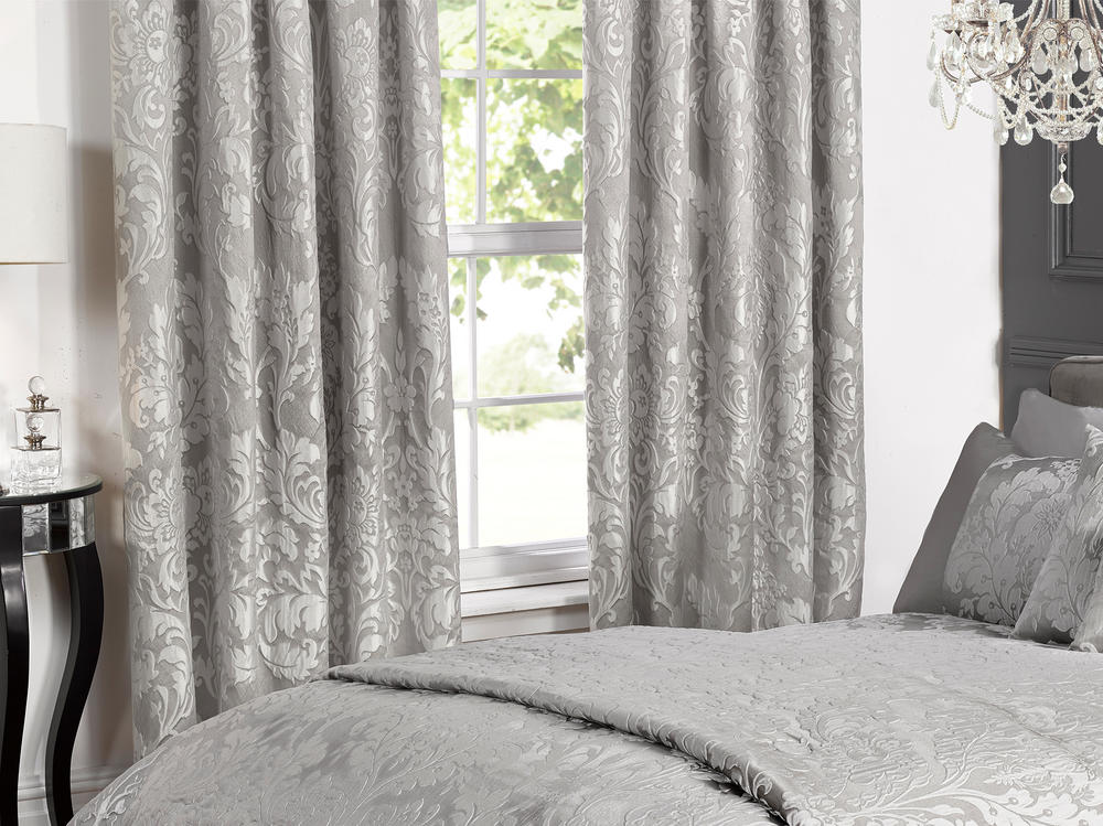 Deluxe Boston Jacquard Damask Lined Curtains In Grey