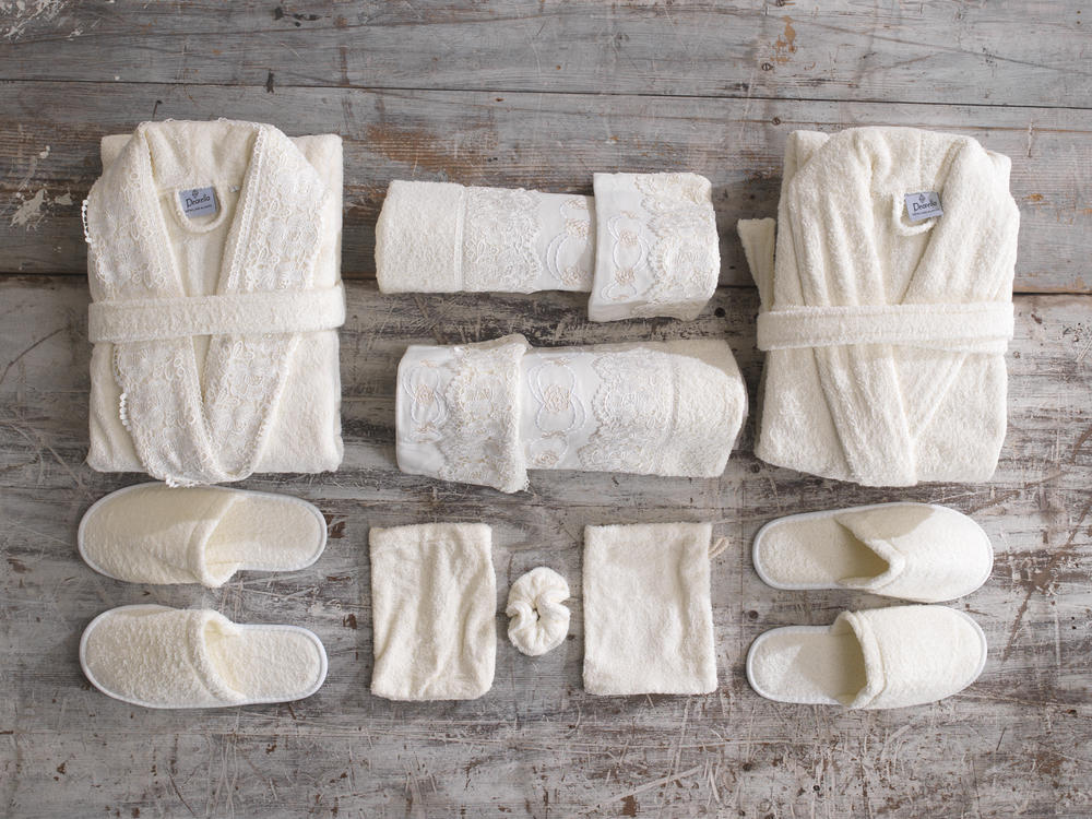 His and hers family bathrobe and bath towel set in gift for His and hers bathroom set