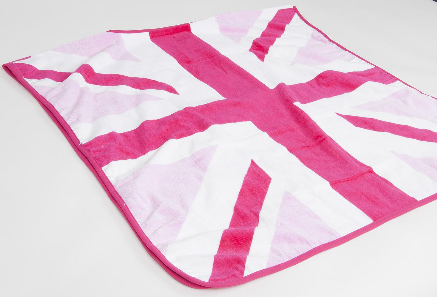 Children 39 s kids pink union jack 100 soft cotton towcho for Pink union jack bedding