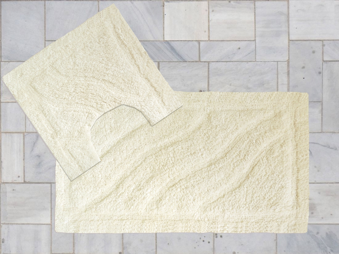 100% Cotton High Pile Two Piece Bath Mat and Pedestal Set in Natural Cream