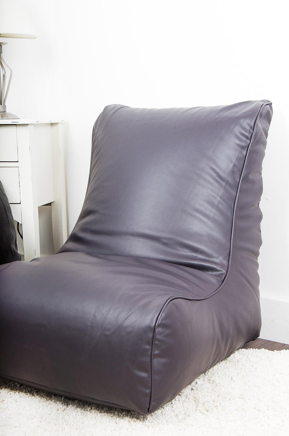 Leather Look Gaming Chair Bean Bag in Aubergine