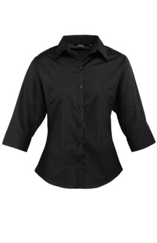 Premier-Womens-3-4-Sleeve-Poplin-Business-Shirt-Blouse-PR305