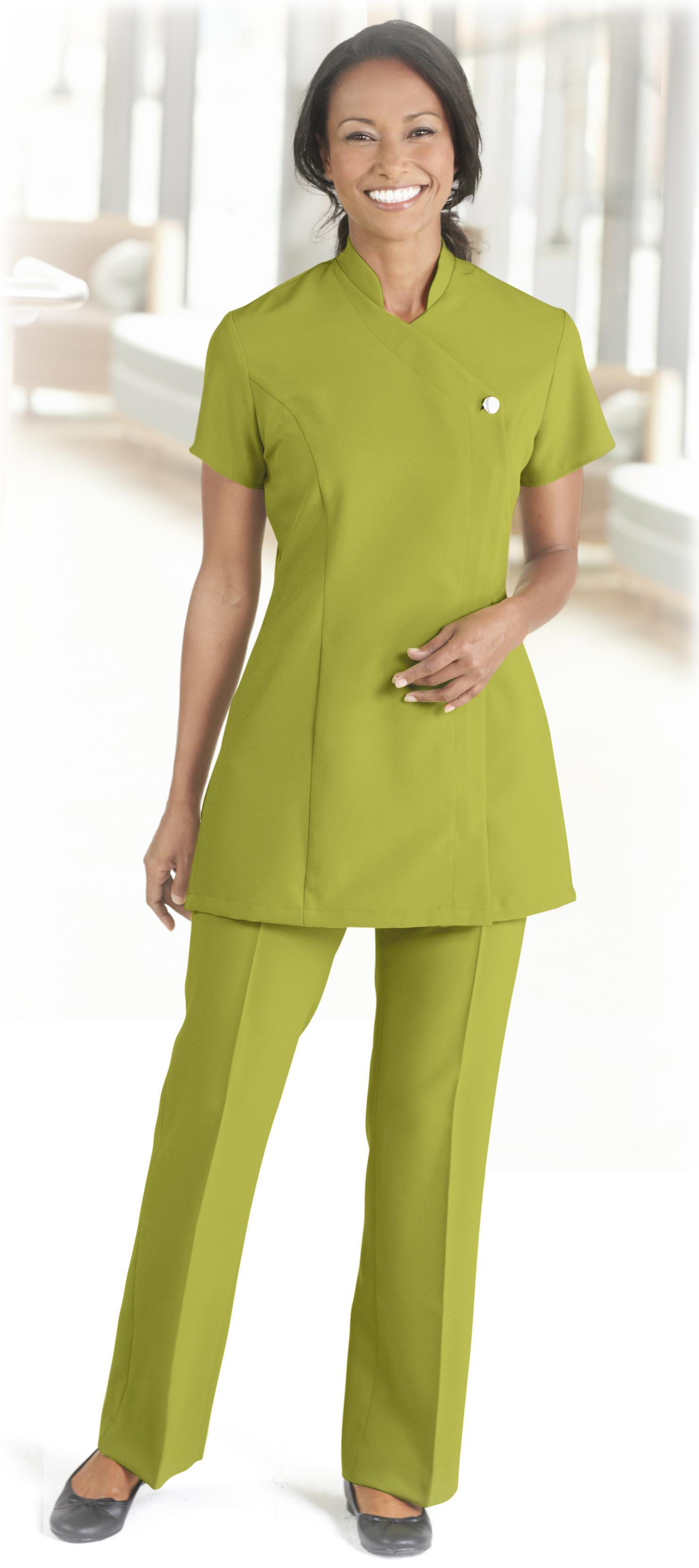 Simon jersey ladies button zip beauty salon beautician for Spa ladies uniform