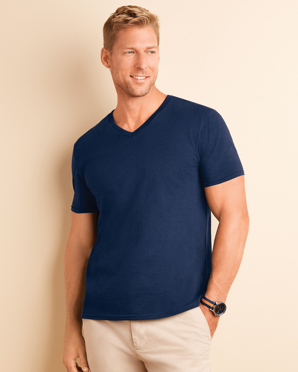 Gildan men 39 s soft style v neck t shirt 64v00 ebay for Gildan v neck t shirts for men