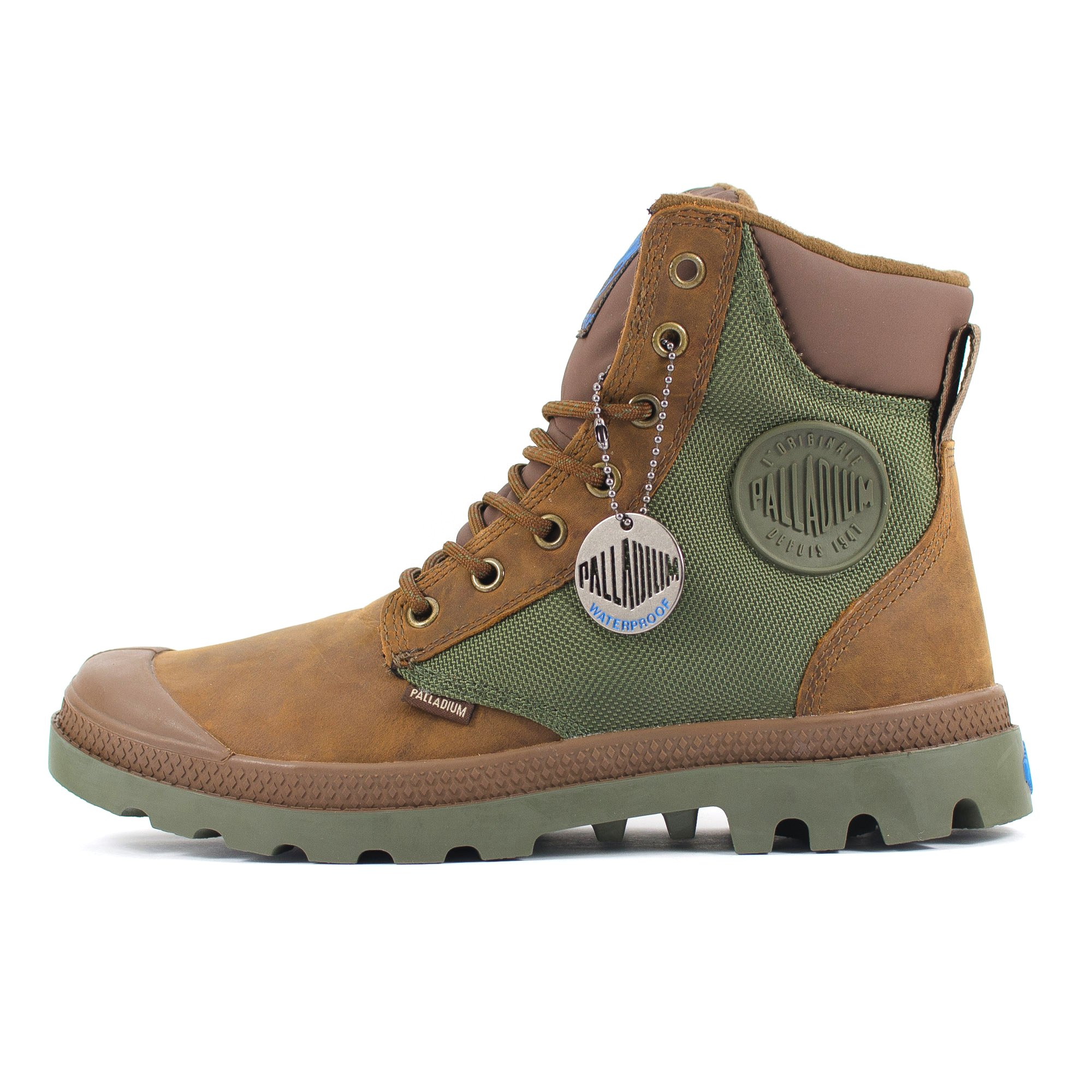 palladium pa sport cuff waterproof brown green leather