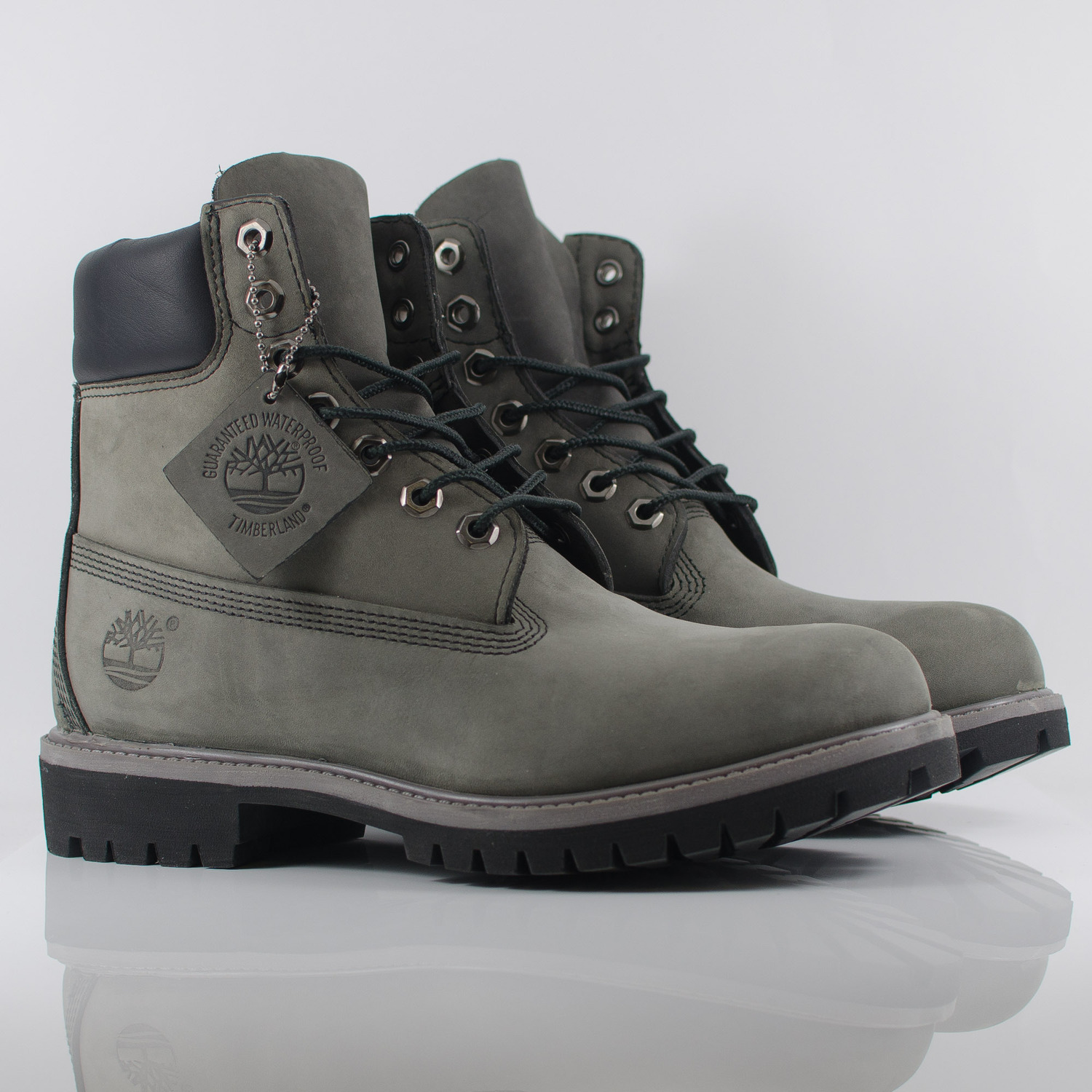 grey and black timberland boots