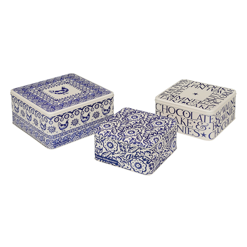 Set Of Square Cake Tins Blue