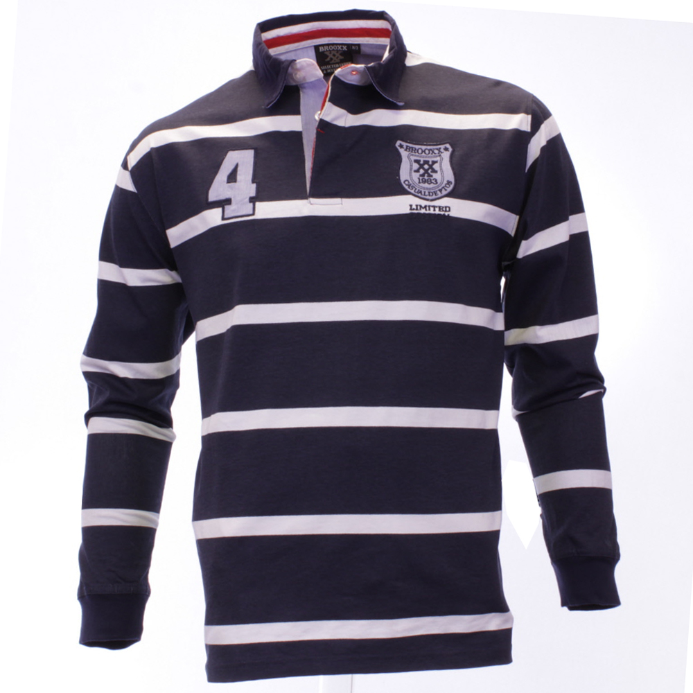 Mens brooxx long sleeve striped casual rugby polo shirt for Long sleeve striped rugby shirt
