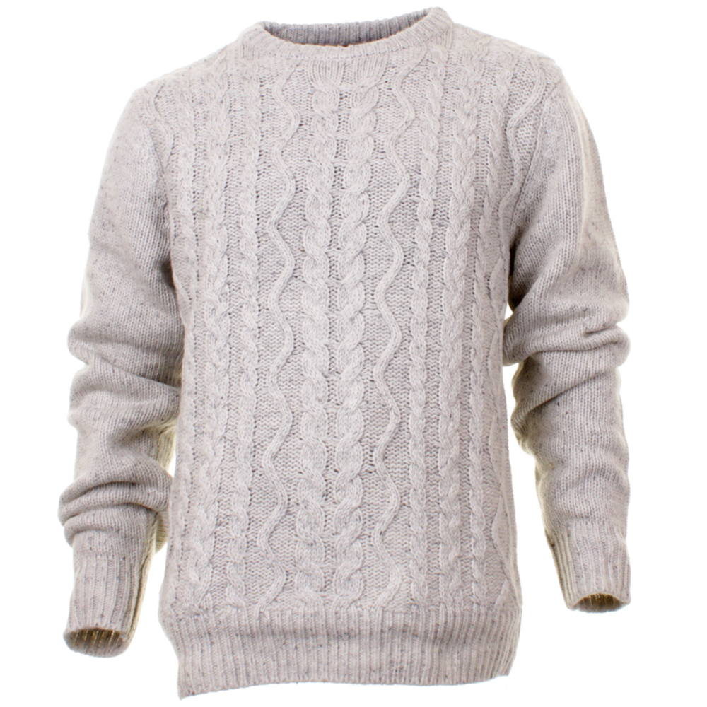 Knitting Pattern Mens Crew Neck Jumper : Mens Rhino Wool Mixed Cable Knit Grey Crew Neck Knitted Jumper Curtis eBay