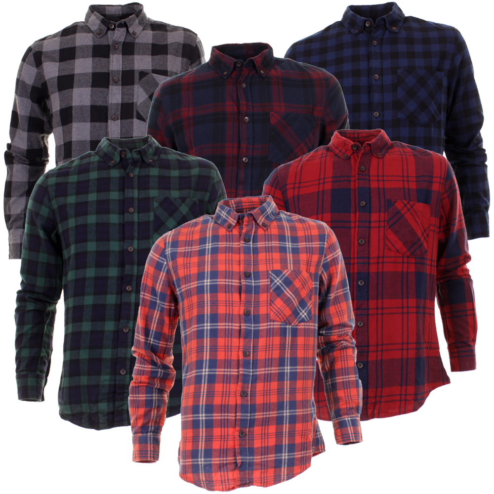 Mens Silver Eight Long Sleeve Cotton Casual Check Shirt Ricky In 6 ...