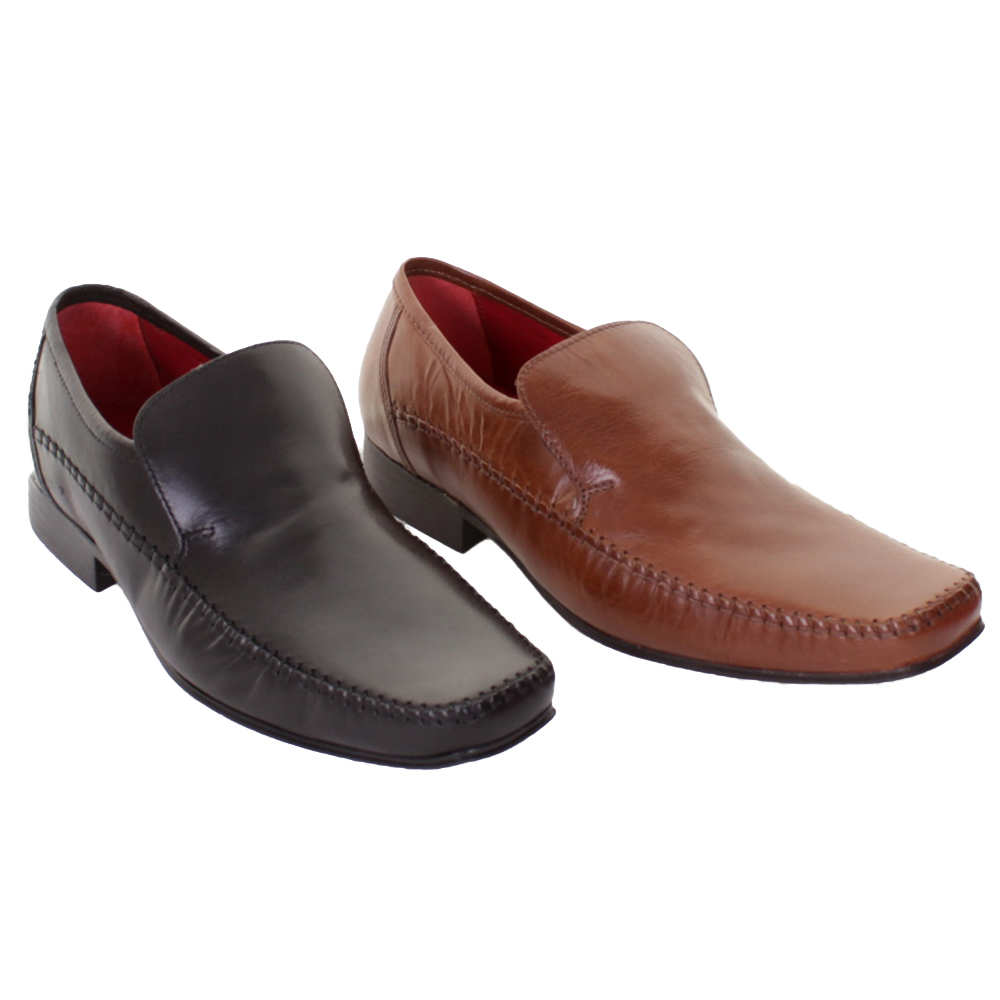 mens slip on leather formal casual work shoes