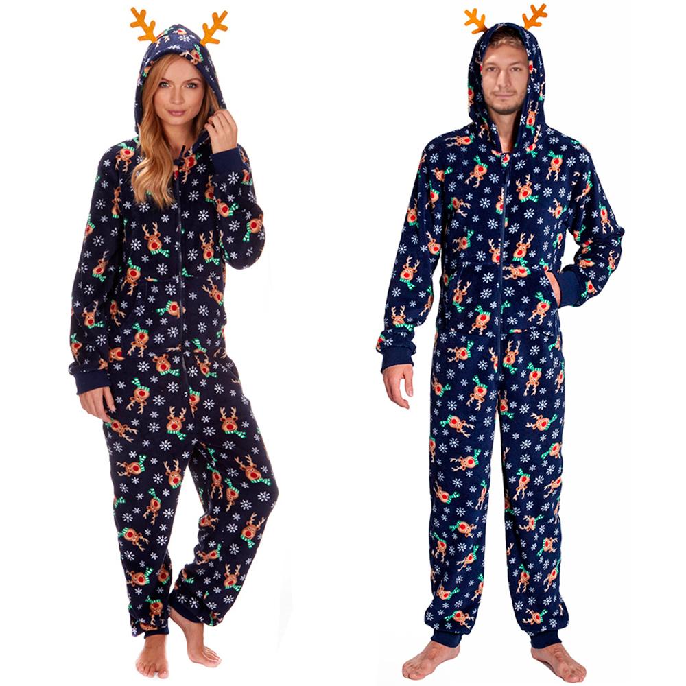 Unisex Mens Ladies Onezee Hooded Fleece Onesie Christmas All In ...