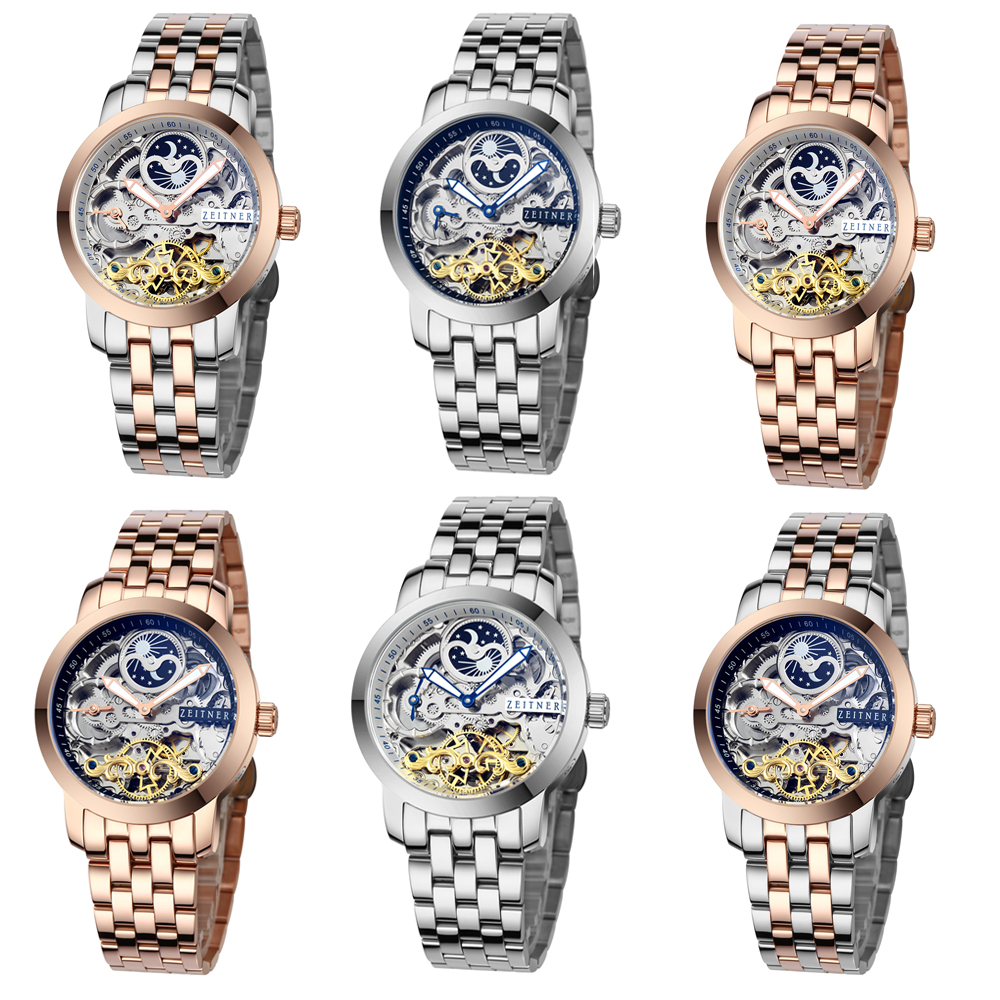 mens zeitner iconic automatic skeleton watch sun~moon face mens zeitner iconic automatic skeleton watch sun~moon face design