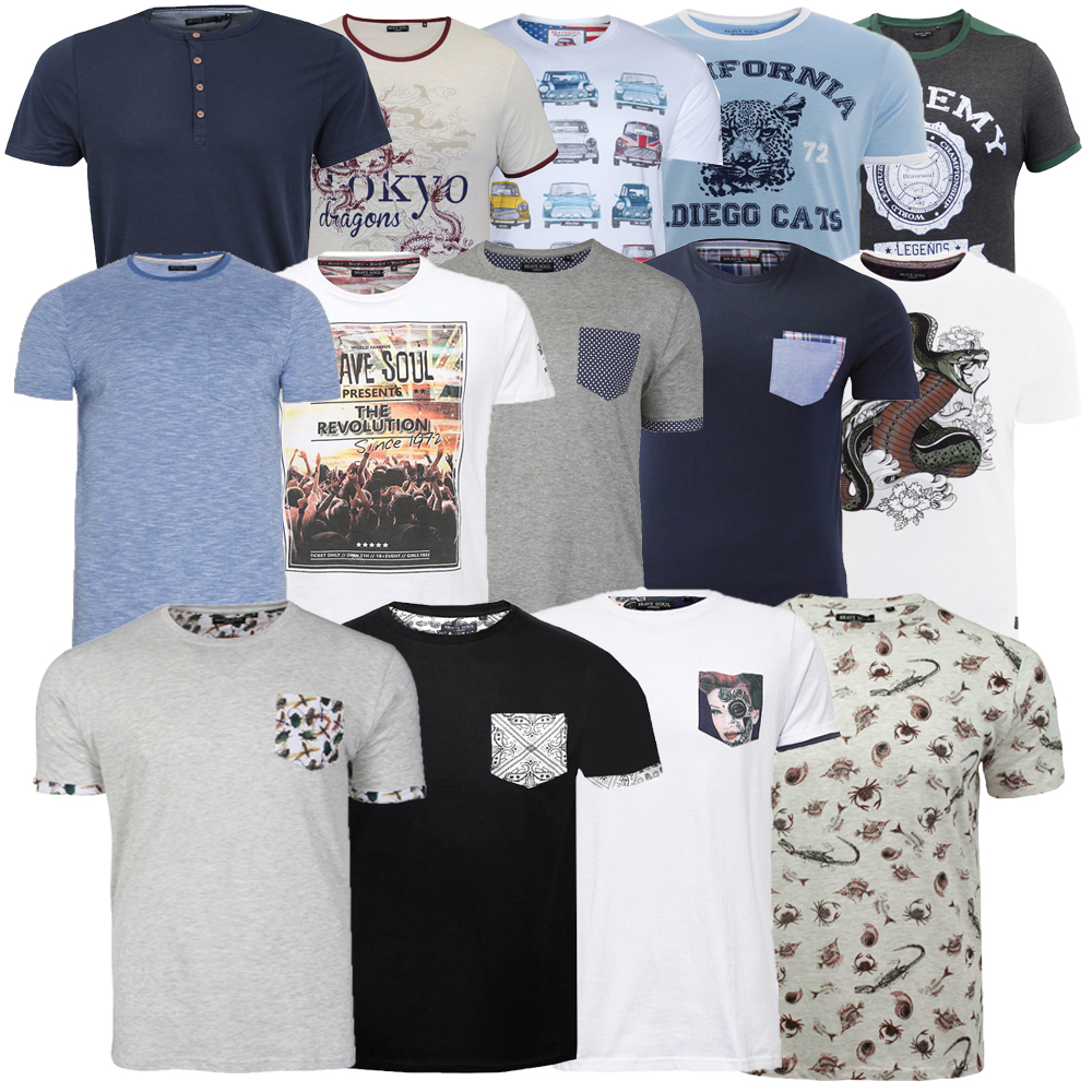 Mens brave soul photo print t shirts assorted graphic for Plain t shirts to print on