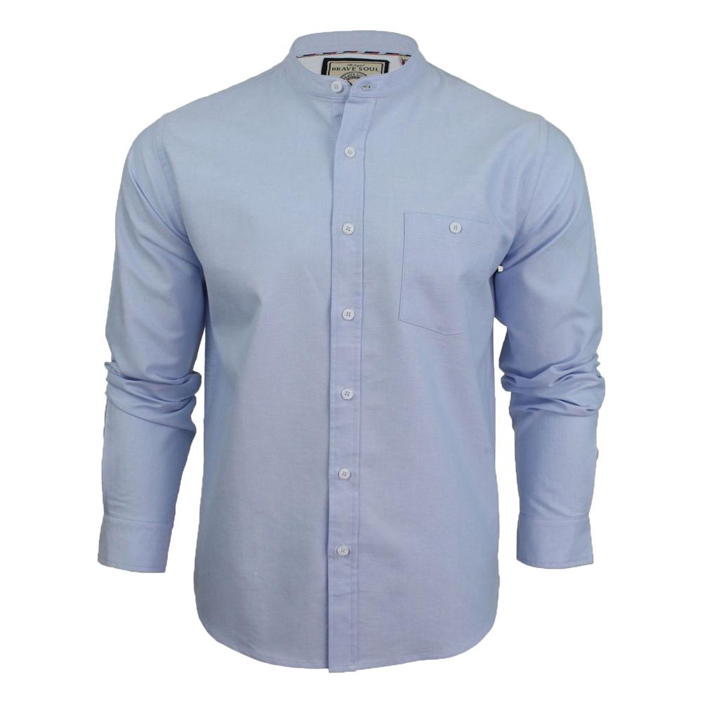Mens brave soul long sleeve cotton shirt grandad collar Mens grandad collar shirt