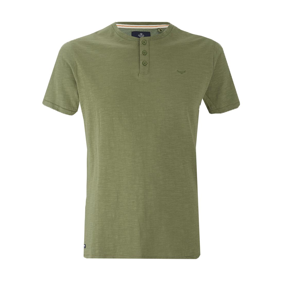 Threadbare Mens  Plain T-Shirt Grandad Collar Summer Casual Top