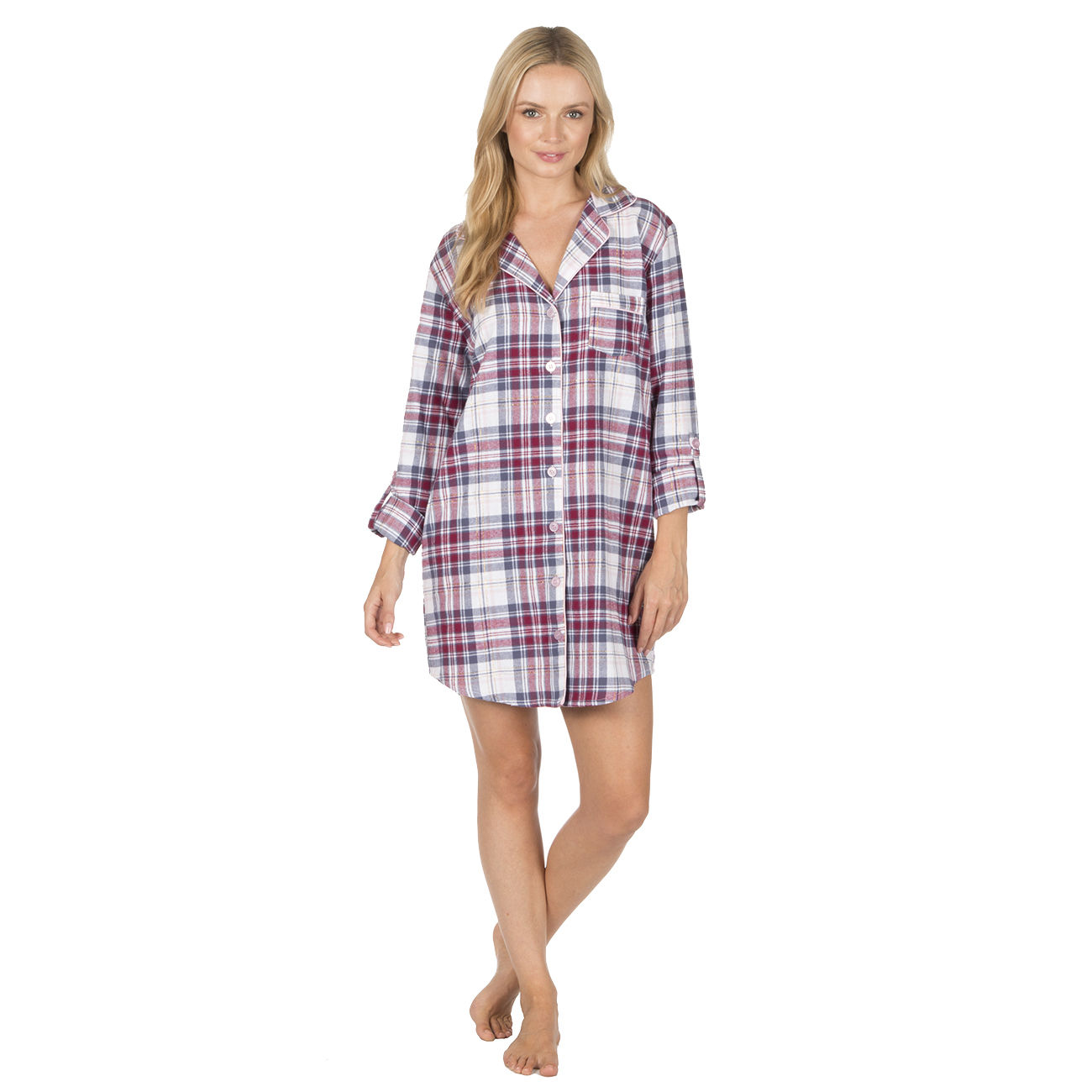 Ladies Forever Dreaming Check Button Night Shirt Long Sleeve Top