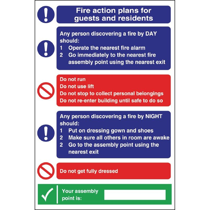 Fire Action Plan Sign For Guests & Residents | eBay