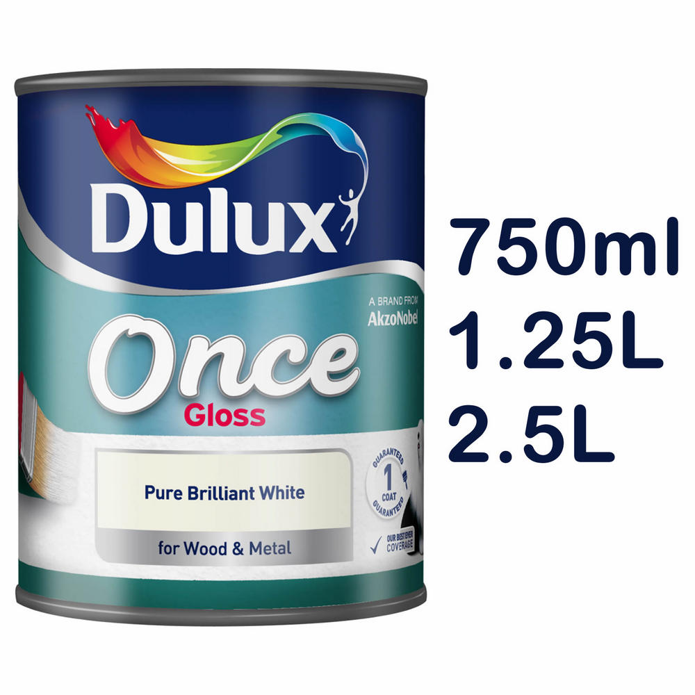 dulux once high gloss pure brilliant white paint wood metal 750ml 1. Black Bedroom Furniture Sets. Home Design Ideas