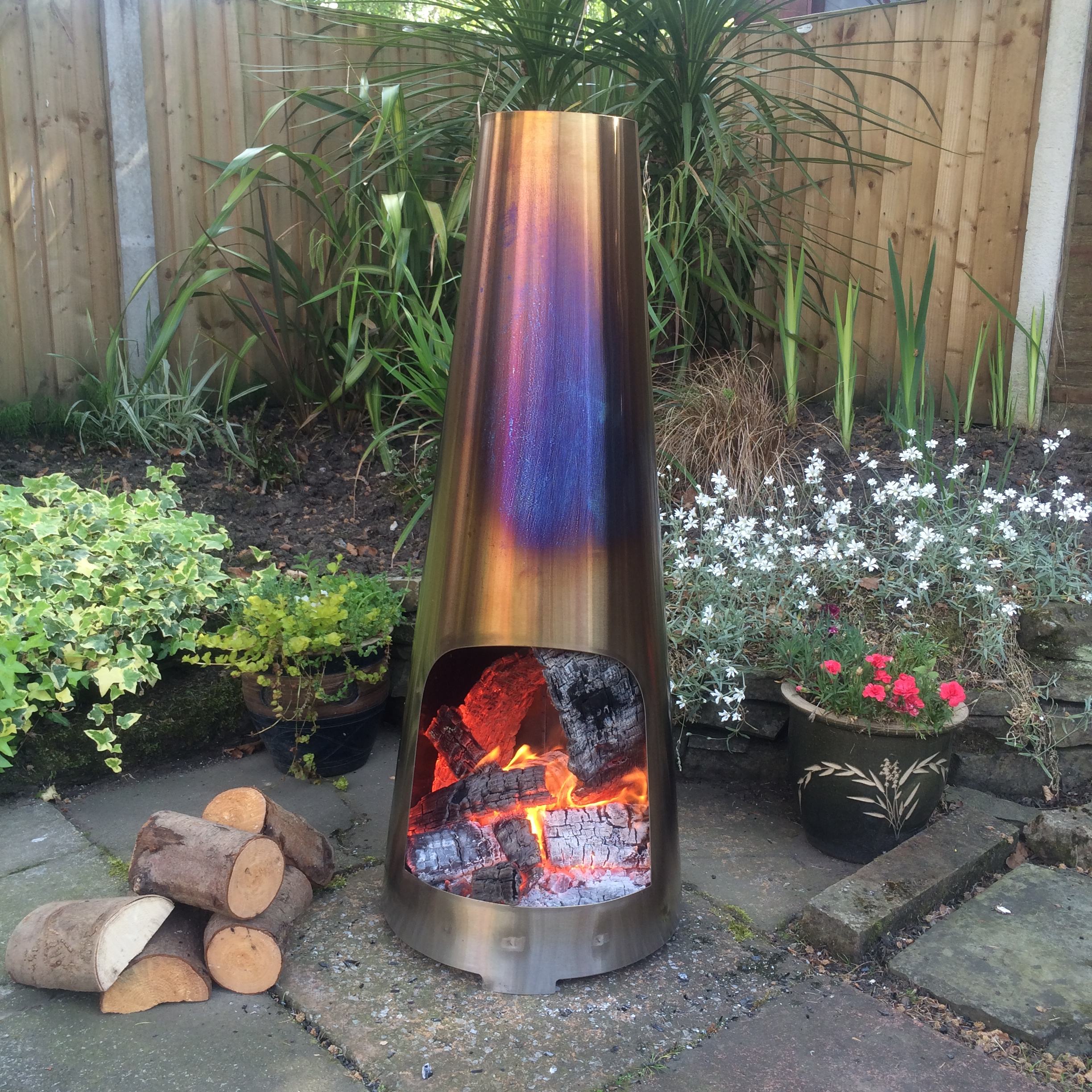 made o' metal stainless steel cm garden patio cone chimenea log  - made o' metal stainless steel cm garden patio cone chimenea log burnerheater