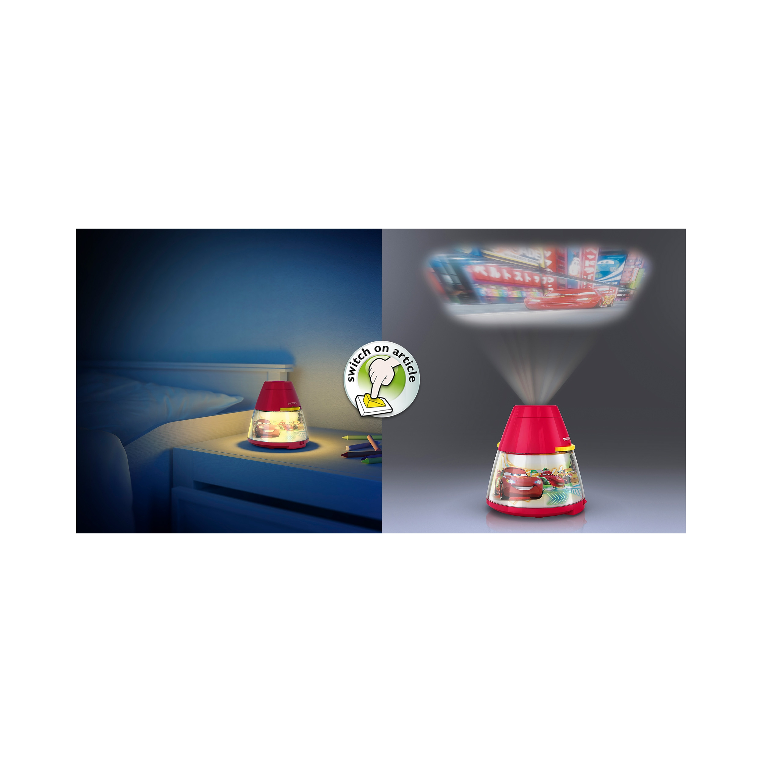 philips led lampe kinderzimmer disney projektor tischleuchte cars licht ebay. Black Bedroom Furniture Sets. Home Design Ideas