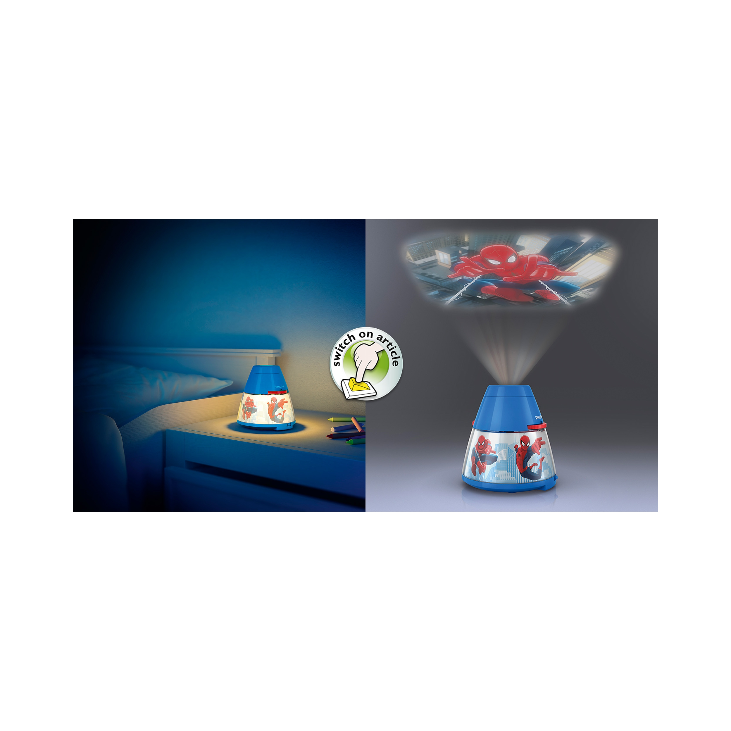 philips led lampe kinderzimmer disney projektor spiderman licht 717694016 ebay. Black Bedroom Furniture Sets. Home Design Ideas