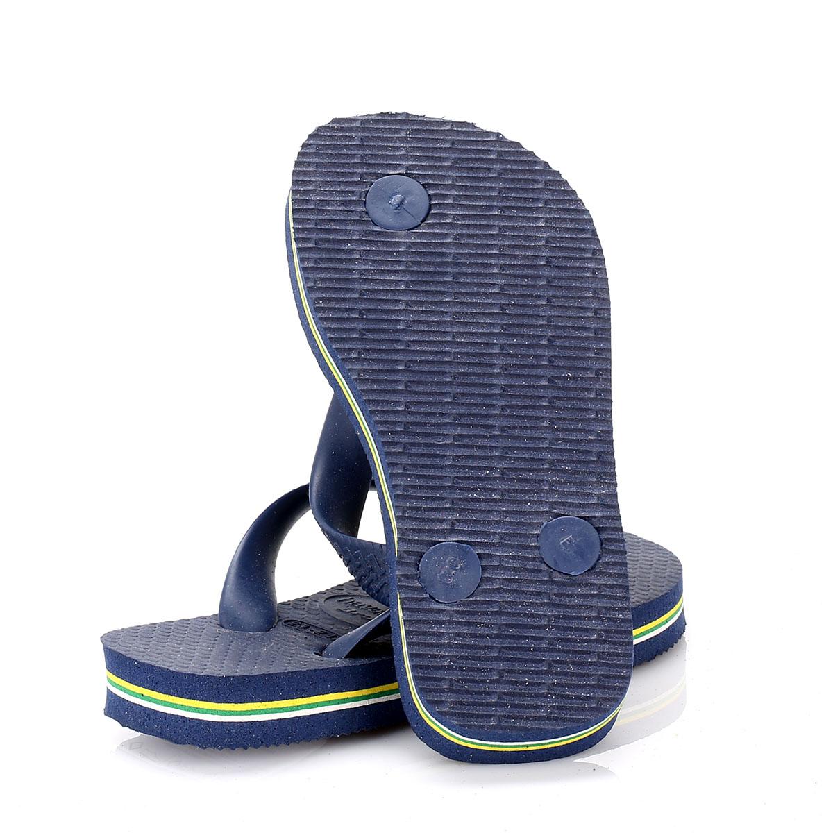 Havaianas Kids Flip Flops Girls Boys Brasil Logo Navy Blue Slip On Casual Shoes
