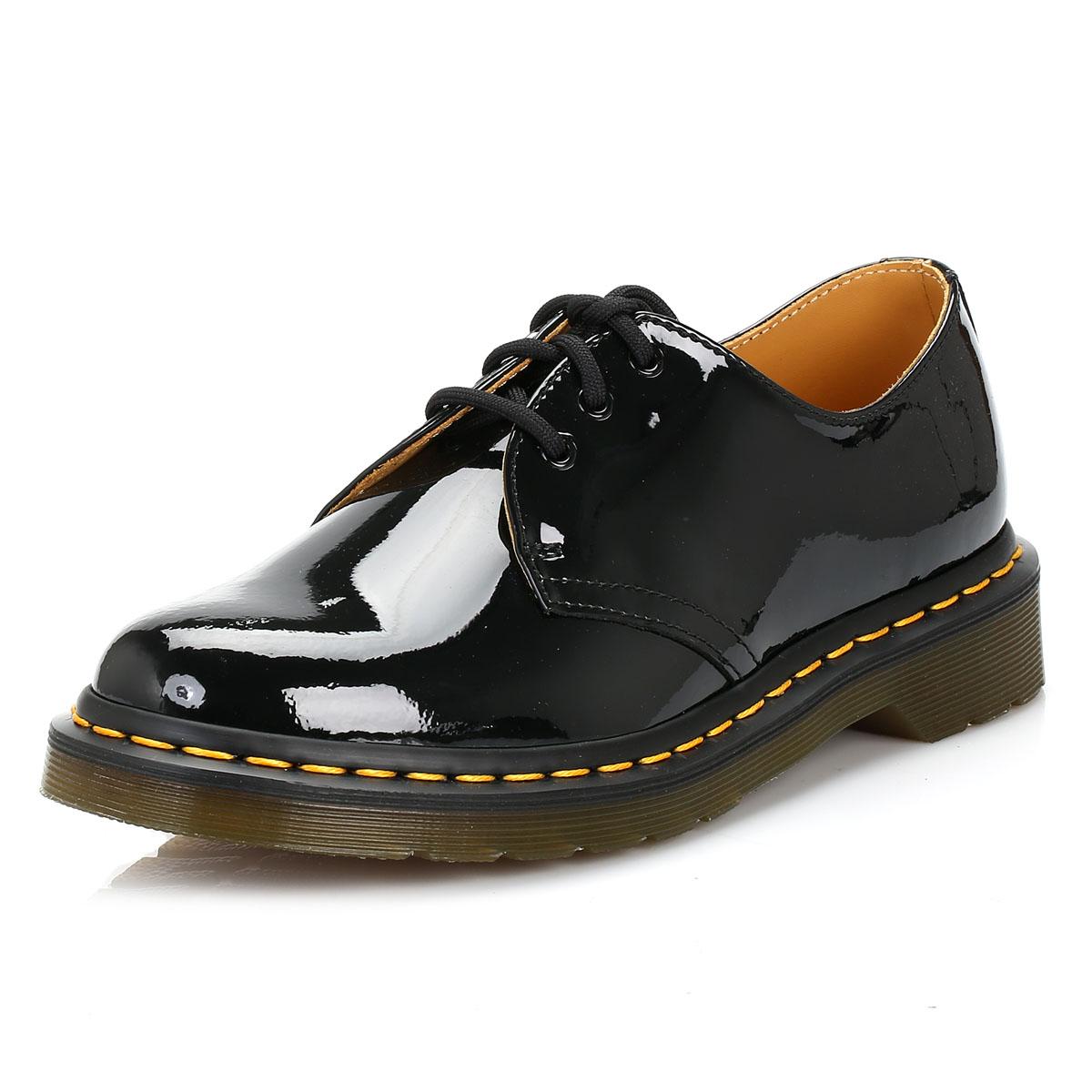 Dr. Martens Womens Black Up, 1461 Derby Shoes, Lace Up, Black Patent Leather, Smart Docs 7f9448