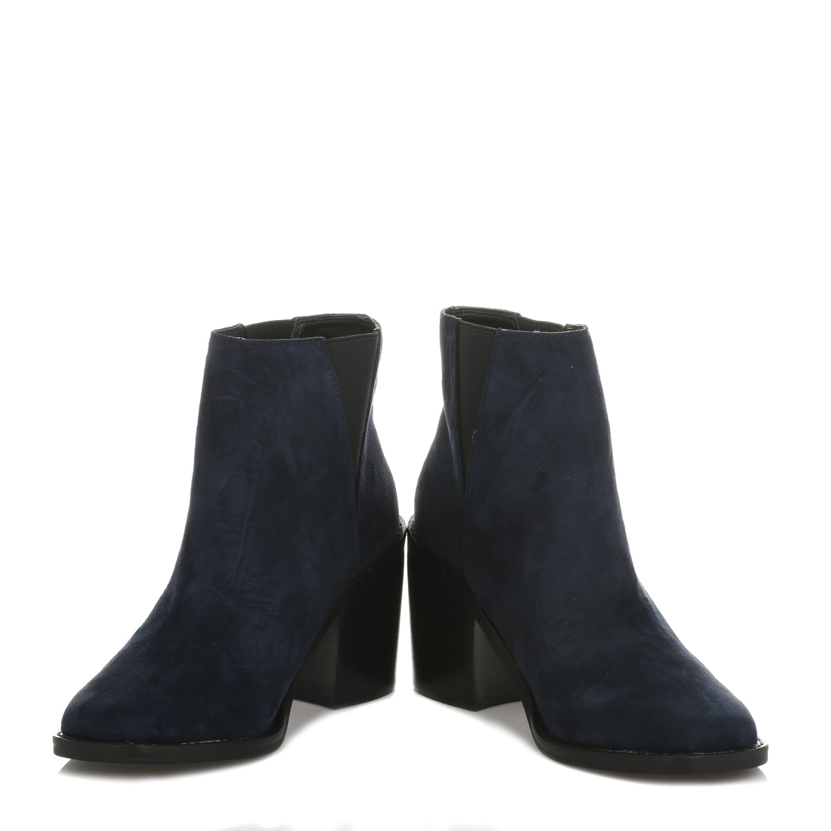 shellys womens ankle boots casual shoes navy blue